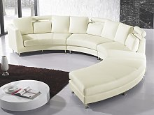 Curved Sofa Beige Faux Leather Modular 8-Seater