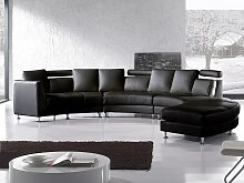 Curved Sofa Black Faux Leather Modular 8-Seater