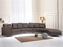 Curved Sofa Brown Faux Leather Modular 8-Seater