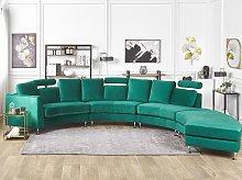 Curved Sofa Dark Green Velvet Upholstery Modular
