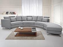 Curved Sofa Light Grey Upholstery Modular 8-Seater