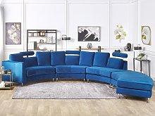 Curved Sofa Navy Blue Velvet Upholstery Modular