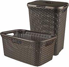 CURVER Style Laundry Basket Set Plastic Dark Brown