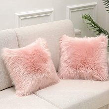 Cushion Cover Pink Faux Fur Deluxe Decorative Sofa