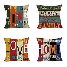 Cushion Covers 45x45cm Set of 4 Cotton Linen