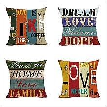 Cushion Covers 50x50cm Set of 4 Cotton Linen