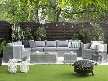 Cushion Covers Set for Garden Set Grey Polyester Fabric Seat and Back Cushion Cases