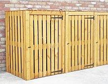 Custis Wooden Triple Bin Store Rebrilliant
