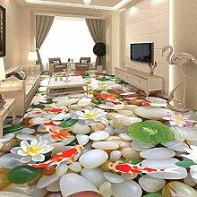 Custom 3D Floor Murals HD Cobblestone Lotus Carp