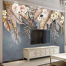 Custom 3D Mural Beautiful Flowers Leaves Living