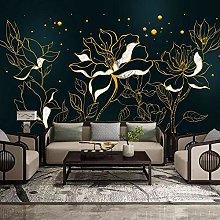 Custom 3D Mural Wallpaper Golden Lines Flowers Art