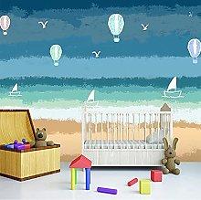 Custom 3D Murals Cartoon Hot Air Balloon Seagull