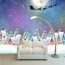 Custom 3D Photo Wall Paper Christmas Cottage Under