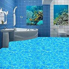 Custom 3D PVC Floor Wallpaper Blue Crystal