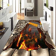 Custom 3D Volcanic Lava Parched Ground Mural Floor