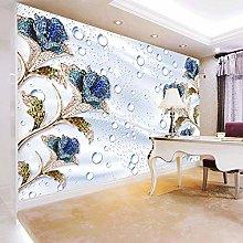 Custom 3D Wall Mural Modern Blue Rose Drops Silk