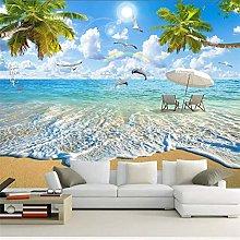 Custom 3D Wall Murals Wallpaper Seascape Coconut