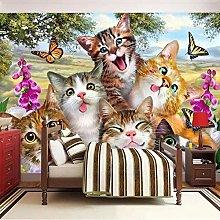 Custom 3D Wallpaper Mural Cute Cartoon Cat