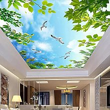 Custom Blue Sky White Clouds Green Leaves Ceiling Self Adhesive Wallpaper Living Room Bedroom Ceiling Decoration Mural Photo,300(W)*210(H)cm