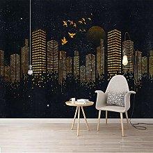 Custom Golden Modern City Wall Cloth Photo