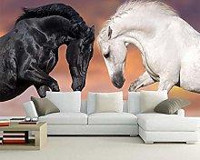 Custom Horse Wallpaper,White Horse and Dark Horse