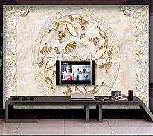Custom Large Frescoes Carp Lotus Pattern Marble