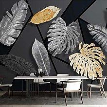 Custom Mural 3D Geometric Plant Leaves Wallpaper