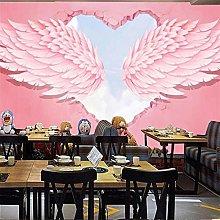 Custom Mural Retro Wallpaper 3D Pink Love Angel
