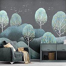 Custom Mural Wallpaper 3D Forest Landscape Retro
