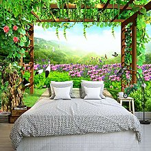 Custom Mural Wallpaper Grape Trellis Butterfly