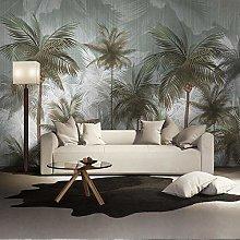 Custom Mural Wallpaper Green Vintage Tropical