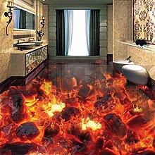 Custom Mural Wallpaper Modern Fire Flame 3D Floor