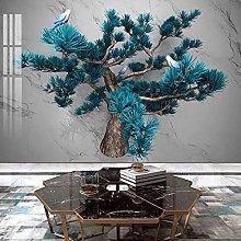 Custom Mural Wallpaper Walls 3D Blue Pine Tree