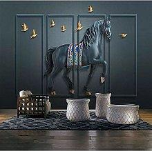 Custom Wall Cloth Retro Relief Embossed Horse