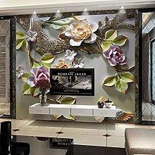 Custom Wall Covering Embossed Flower Bird Mural