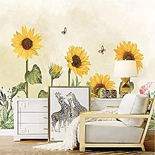 Custom Wallpaper 3D Hand-Painted Sunflower Photo