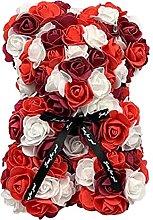 Cute 25cm Red Rose Bear Artificial PE Flowers