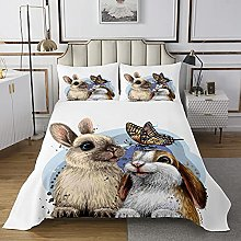 Cute Animal Bedspread Rabbits Quilted Coverlet for