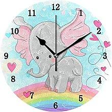 Cute Animal Elephant Kids Wall Clock, Silent Non