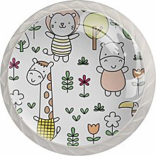 Cute Baby Animal Doodle. 4pcs Glass Cupboard