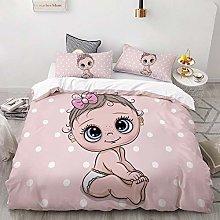 Cute baby pink Bedding 3D Duvet Cover Sets 3 Piece