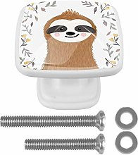 Cute Baby Sloth 4PCS Drawer Knobs Square Crystal