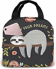 Cute Baby Sloth On The Tree Reusable Lunch Bags