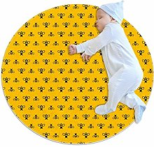 Cute Bee Pattern Round Area Rug, 2.3ft Non-Slip