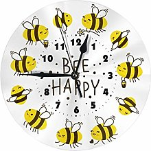 Cute Bees Happy Round Wall Clock, Silent Non