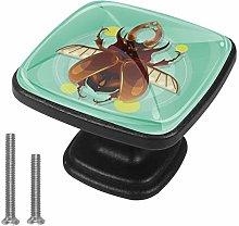 Cute Beetle 4pcs Colorful Crystal Glass Cupboard