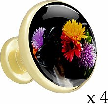 Cute Black White Cat Alloy Cabinet Knobs Gold
