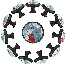 Cute Bunny with Backpack 12PCS Round Drawer Knob