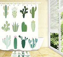 Cute Cactus Design Waterproof Shower Curtain Sets
