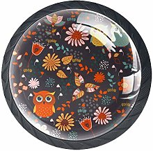 Cute Cartoon Animal Forest Owls Floral Cabinet
